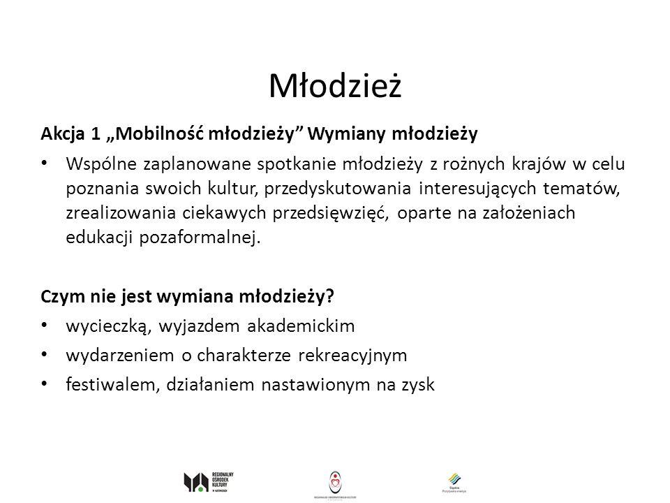 Młodzież Akcja 1 Mobilność młodzieży Wymiany młodzieży Wspólne zaplanowane spotkanie młodzieży z rożnych krajów w celu poznania swoich kultur, przedys