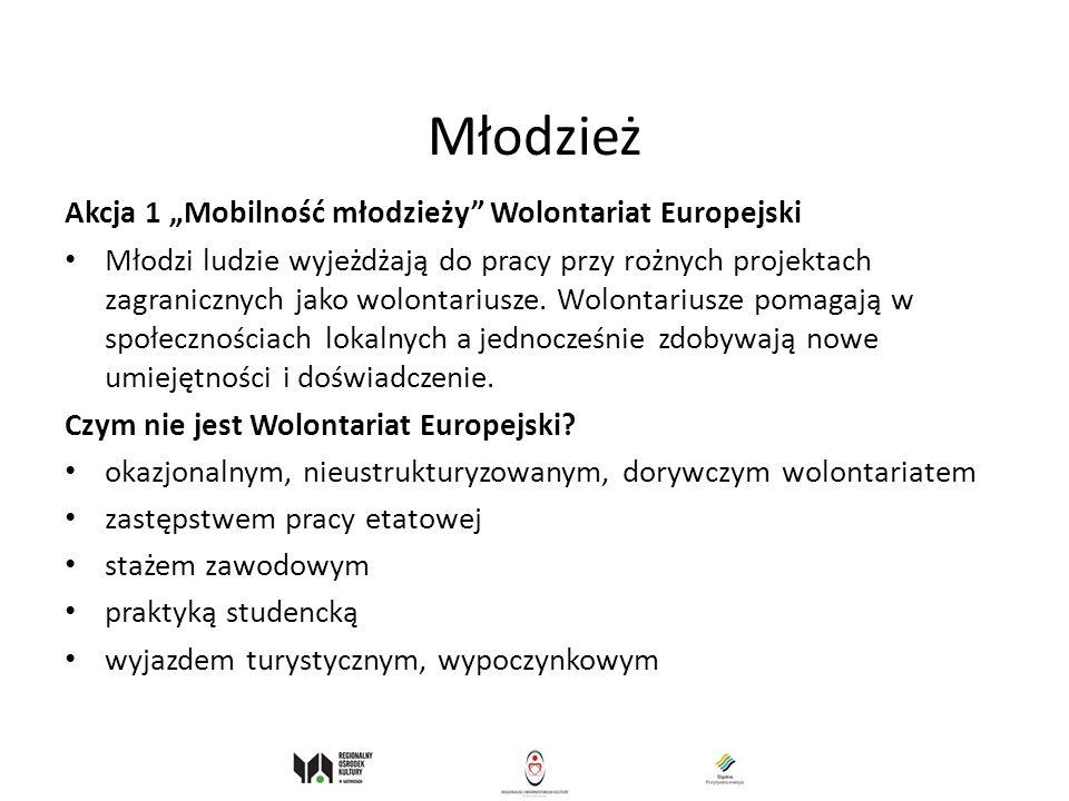 Młodzież Akcja 1 Mobilność młodzieży Wolontariat Europejski Młodzi ludzie wyjeżdżają do pracy przy rożnych projektach zagranicznych jako wolontariusze