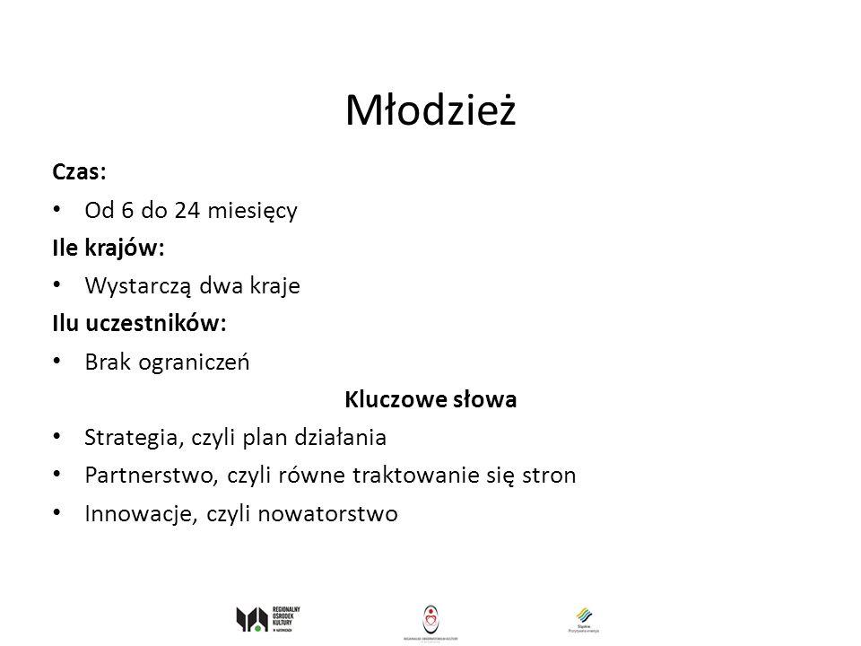 Młodzież Czas: Od 6 do 24 miesięcy Ile krajów: Wystarczą dwa kraje Ilu uczestników: Brak ograniczeń Kluczowe słowa Strategia, czyli plan działania Par