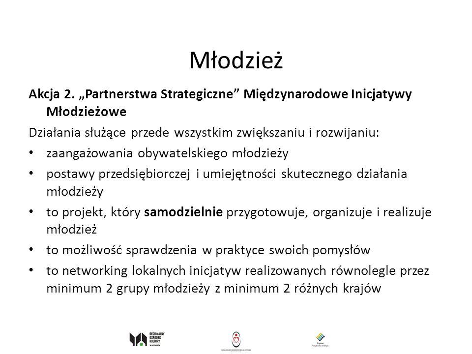 Młodzież Akcja 2. Partnerstwa Strategiczne Międzynarodowe Inicjatywy Młodzieżowe Działania służące przede wszystkim zwiększaniu i rozwijaniu: zaangażo