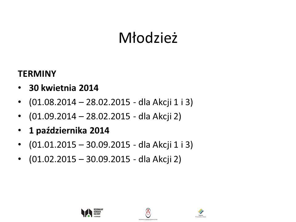 Młodzież TERMINY 30 kwietnia 2014 (01.08.2014 – 28.02.2015 - dla Akcji 1 i 3) (01.09.2014 – 28.02.2015 - dla Akcji 2) 1 października 2014 (01.01.2015