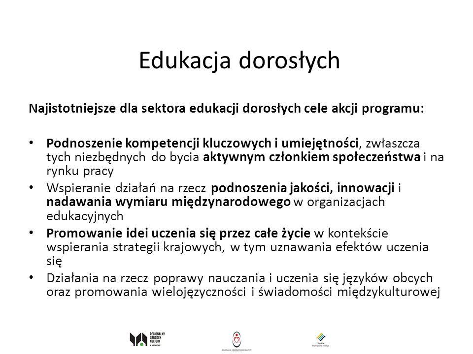 Edukacja dorosłych Najistotniejsze dla sektora edukacji dorosłych cele akcji programu: Podnoszenie kompetencji kluczowych i umiejętności, zwłaszcza ty