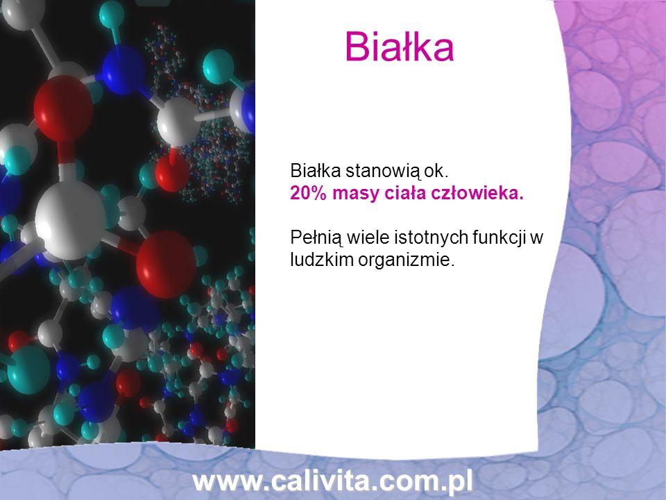 Białka stanowią ok. 20% masy ciała człowieka. Pełnią wiele istotnych funkcji w ludzkim organizmie. Białka www.calivita.com.pl