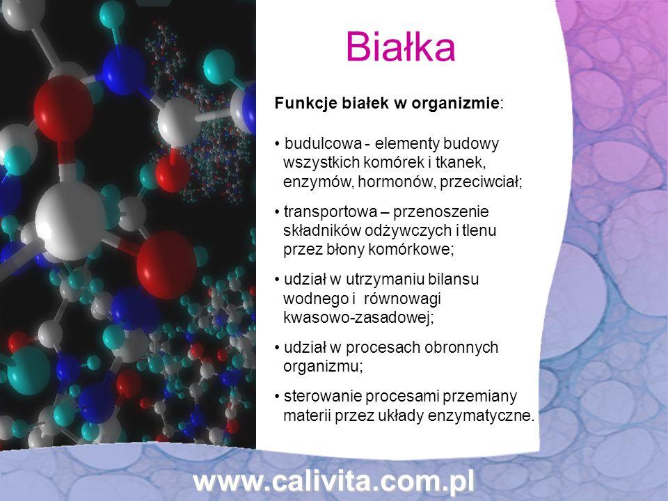 Funkcje białek w organizmie: budulcowa - elementy budowy wszystkich komórek i tkanek, enzymów, hormonów, przeciwciał; transportowa – przenoszenie skła