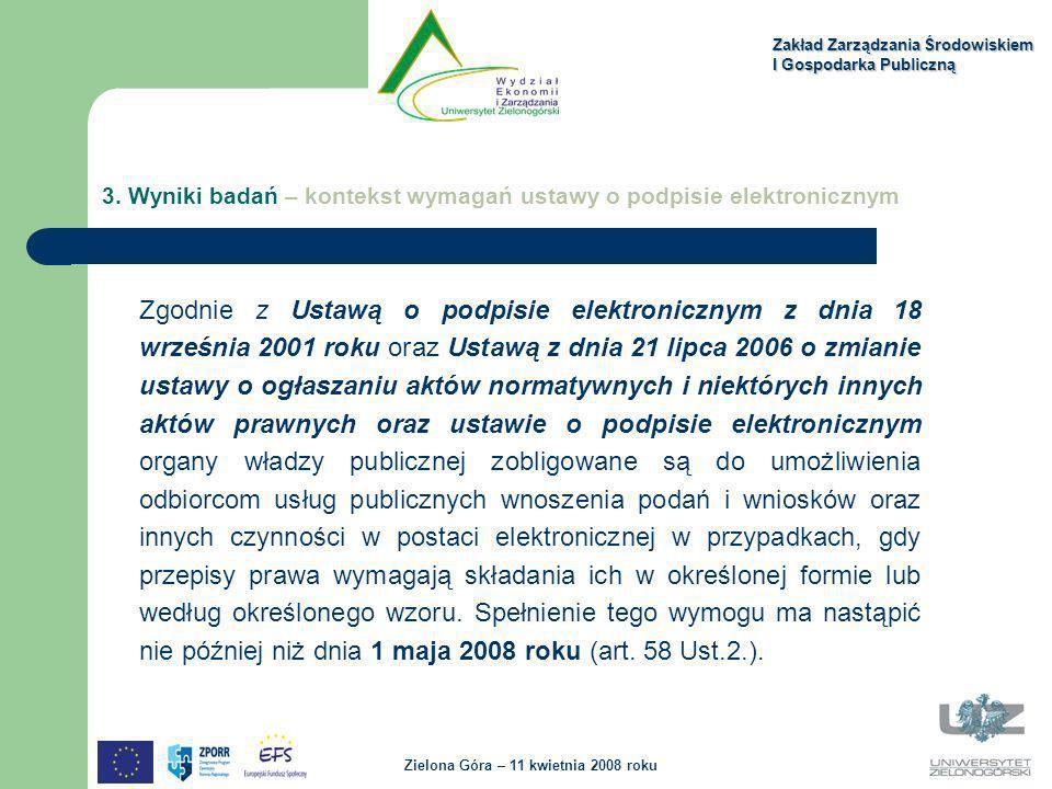 Zakład Zarządzania Środowiskiem I Gospodarka Publiczną Zielona Góra – 11 kwietnia 2008 roku Zgodnie z Ustawą o podpisie elektronicznym z dnia 18 wrześ