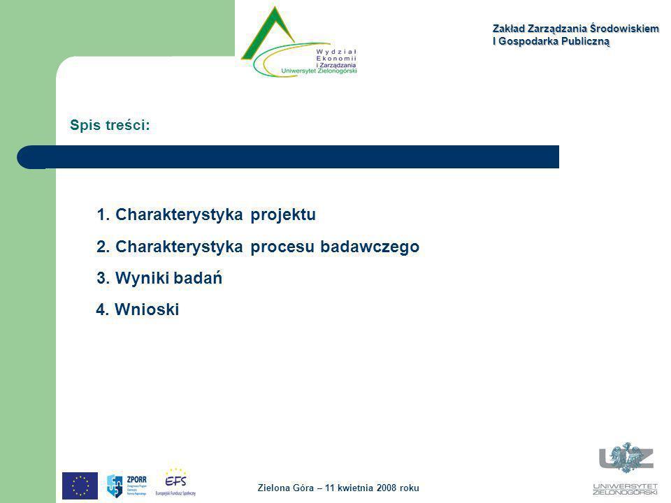 1. Charakterystyka projektu 2. Charakterystyka procesu badawczego 3. Wyniki badań 4. Wnioski Spis treści: Zakład Zarządzania Środowiskiem I Gospodarka