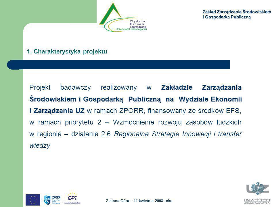 Zakładzie Zarządzania Środowiskiem i Gospodarką Publiczną na Wydziale Ekonomii i Zarządzania UZ Projekt badawczy realizowany w Zakładzie Zarządzania Ś