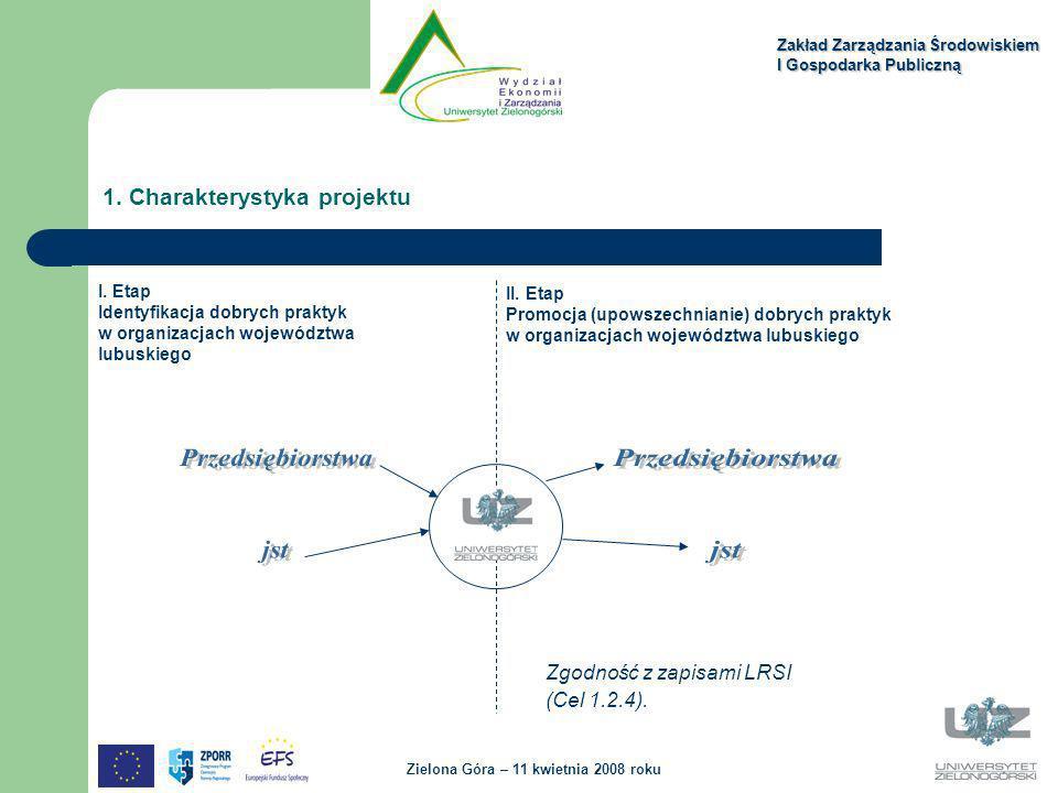 1. Charakterystyka projektu Zakład Zarządzania Środowiskiem I Gospodarka Publiczną Zielona Góra – 11 kwietnia 2008 roku I. Etap Identyfikacja dobrych