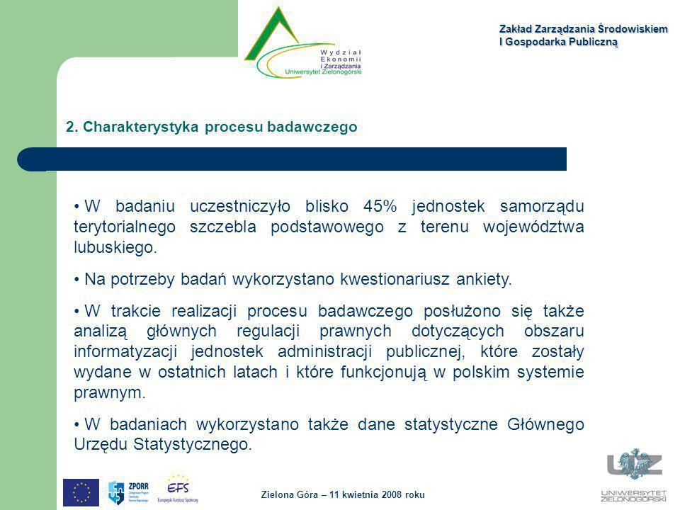 2. Charakterystyka procesu badawczego Zakład Zarządzania Środowiskiem I Gospodarka Publiczną Zielona Góra – 11 kwietnia 2008 roku W badaniu uczestnicz