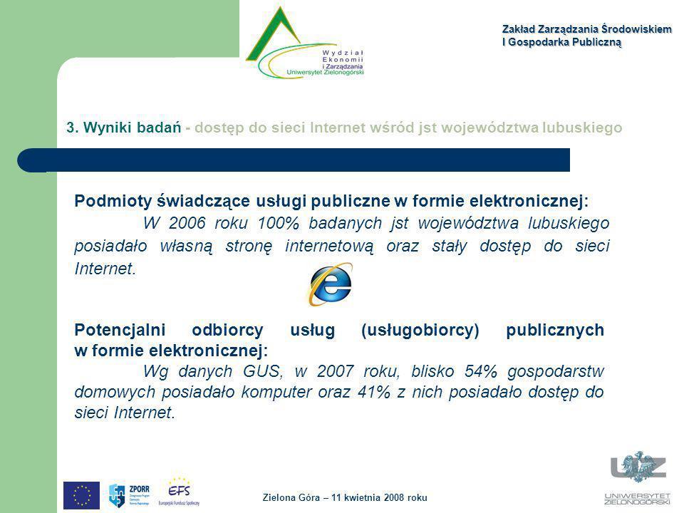 Zakład Zarządzania Środowiskiem I Gospodarka Publiczną Zielona Góra – 11 kwietnia 2008 roku 3. Wyniki badań - dostęp do sieci Internet wśród jst wojew