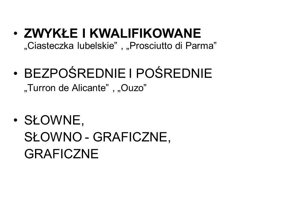 ZWYKŁE I KWALIFIKOWANE Ciasteczka lubelskie, Prosciutto di Parma BEZPOŚREDNIE I POŚREDNIE Turron de Alicante, Ouzo SŁOWNE, SŁOWNO - GRAFICZNE, GRAFICZ