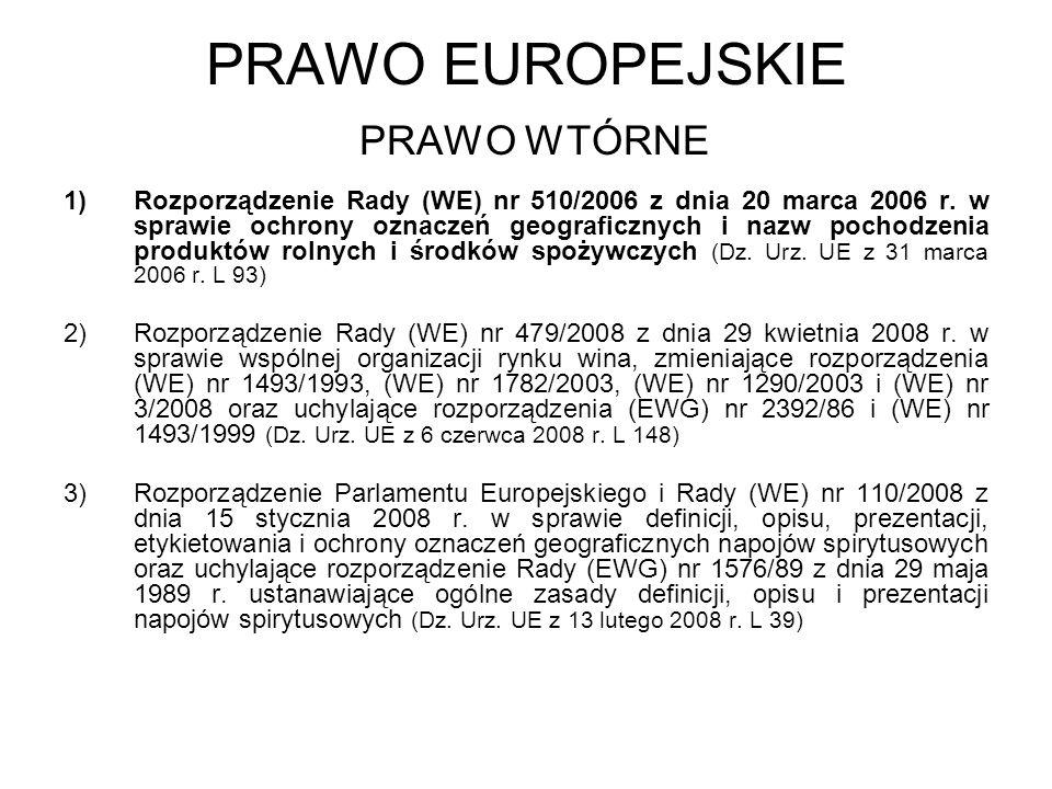 PRAWO EUROPEJSKIE PRAWO WTÓRNE 1)Rozporządzenie Rady (WE) nr 510/2006 z dnia 20 marca 2006 r. w sprawie ochrony oznaczeń geograficznych i nazw pochodz