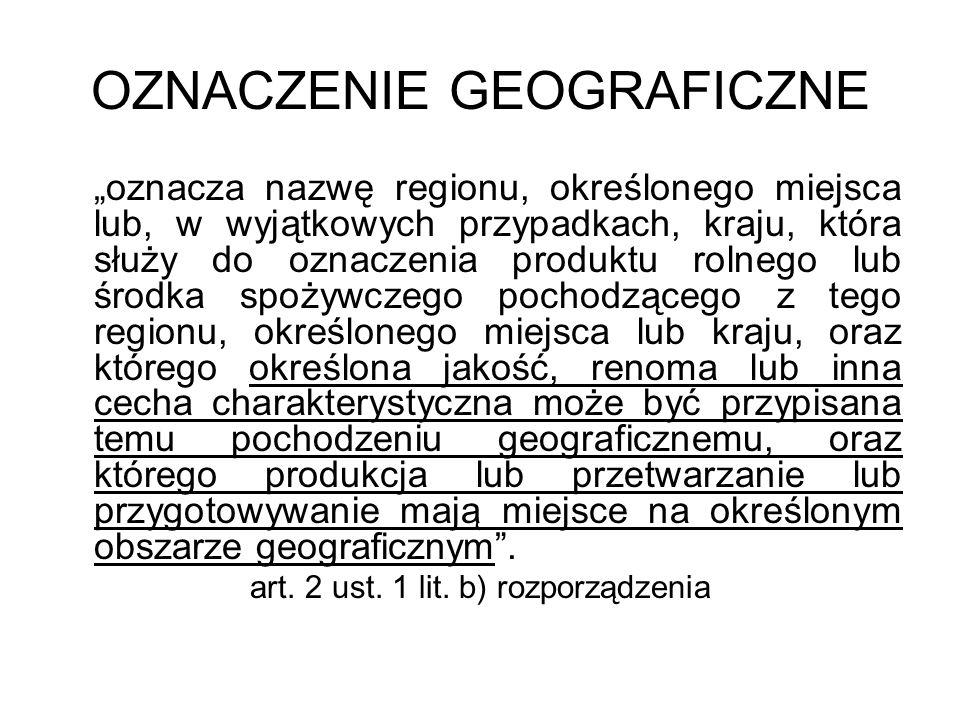 OZNACZENIE GEOGRAFICZNE oznacza nazwę regionu, określonego miejsca lub, w wyjątkowych przypadkach, kraju, która służy do oznaczenia produktu rolnego l
