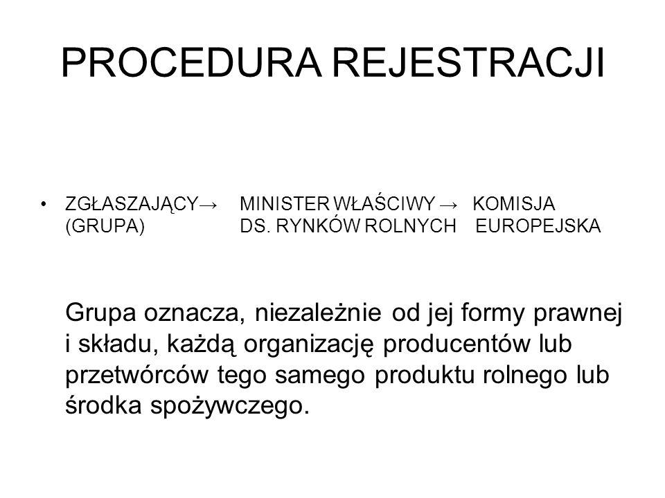PROCEDURA REJESTRACJI ZGŁASZAJĄCY MINISTER WŁAŚCIWY KOMISJA (GRUPA)DS. RYNKÓW ROLNYCH EUROPEJSKA Grupa oznacza, niezależnie od jej formy prawnej i skł