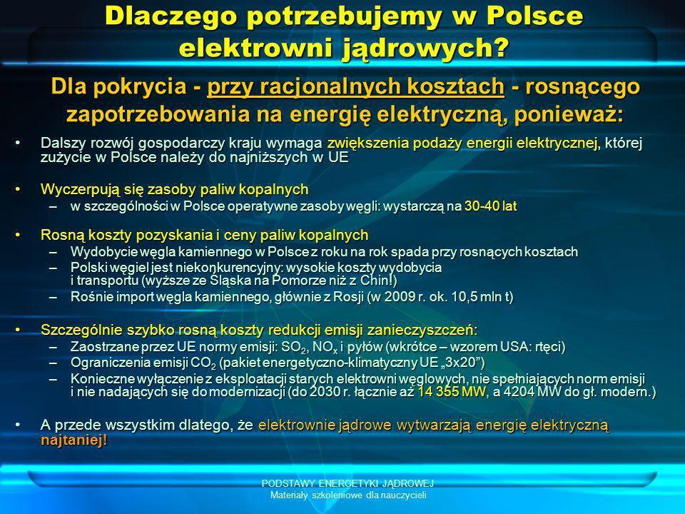 PODSTAWY ENERGETYKI JĄDROWEJ Materiały szkoleniowe dla nauczycieli Porównanie zużycia energii elektrycznej na mieszkańca w krajach UE Zużycie energii elektrycznej na mieszkańca w Polsce (brutto / finalne = 4 065 / 3 082 kWh/os.) należy do najniższych w UE-27 (niższe jest tylko w Rumunii, na Litwie i w Łotwie)Zużycie energii elektrycznej na mieszkańca w Polsce (brutto / finalne = 4 065 / 3 082 kWh/os.) należy do najniższych w UE-27 (niższe jest tylko w Rumunii, na Litwie i w Łotwie) – zużycie energii finalnej jest ponad 2-krotnie niższe niż w krajach UE-15 (6 372 kWh/os.)