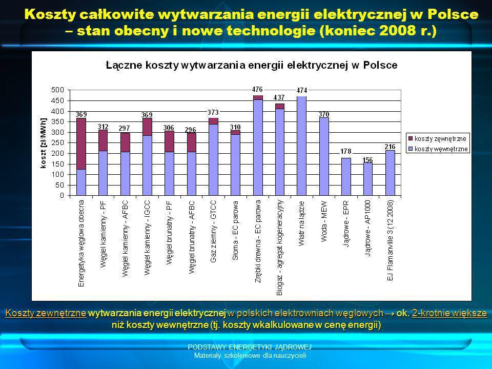 PODSTAWY ENERGETYKI JĄDROWEJ Materiały szkoleniowe dla nauczycieli Koszty całkowite wytwarzania energii elektrycznej w Polsce – stan obecny i nowe tec