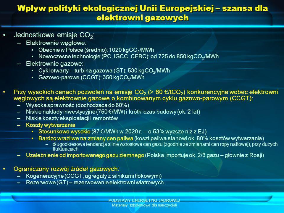 PODSTAWY ENERGETYKI JĄDROWEJ Materiały szkoleniowe dla nauczycieli Wpływ polityki ekologicznej Unii Europejskiej – szansa dla elektrowni gazowych Jedn