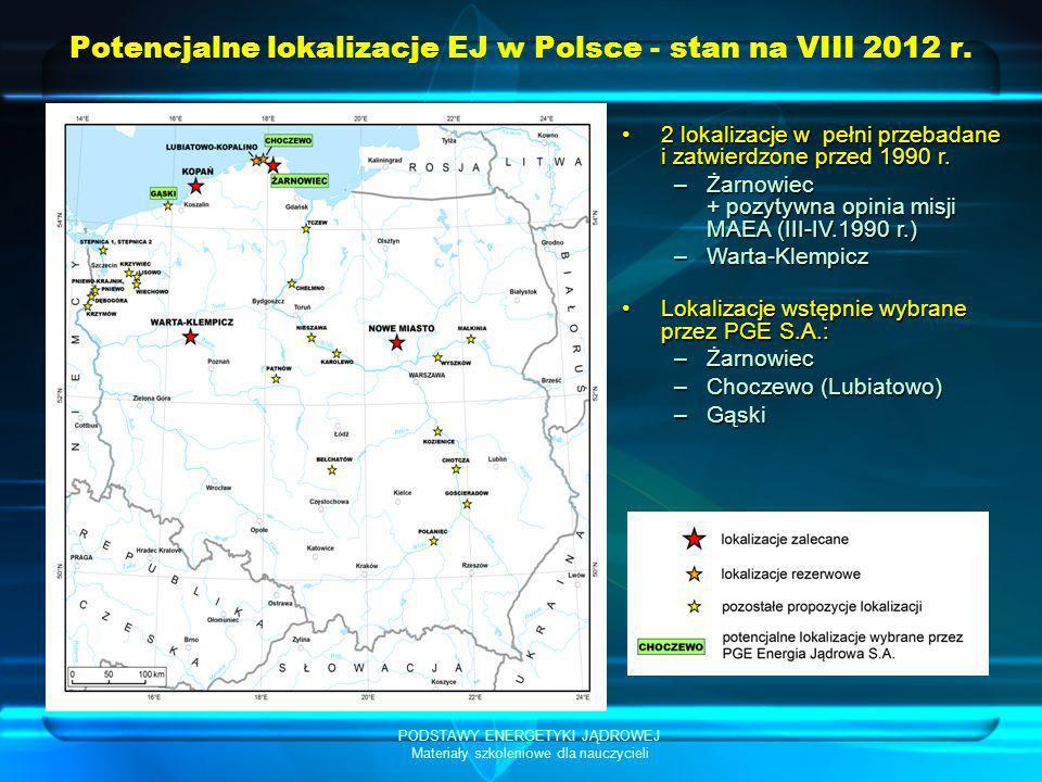 PODSTAWY ENERGETYKI JĄDROWEJ Materiały szkoleniowe dla nauczycieli Potencjalne lokalizacje EJ w Polsce - stan na VIII 2012 r. 2 lokalizacje w pełni pr