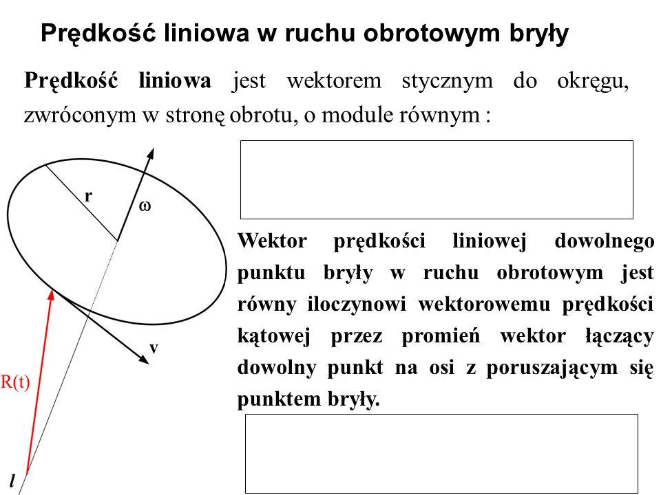 Prędkość liniowa jest wektorem stycznym do okręgu, zwróconym w stronę obrotu, o module równym : Prędkość liniowa w ruchu obrotowym bryły Wektor prędkości liniowej dowolnego punktu bryły w ruchu obrotowym jest równy iloczynowi wektorowemu prędkości kątowej przez promień wektor łączący dowolny punkt na osi z poruszającym się punktem bryły.