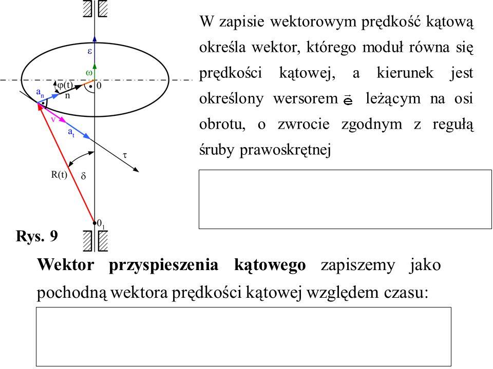 W zapisie wektorowym prędkość kątową określa wektor, którego moduł równa się prędkości kątowej, a kierunek jest określony wersorem leżącym na osi obrotu, o zwrocie zgodnym z regułą śruby prawoskrętnej Rys.
