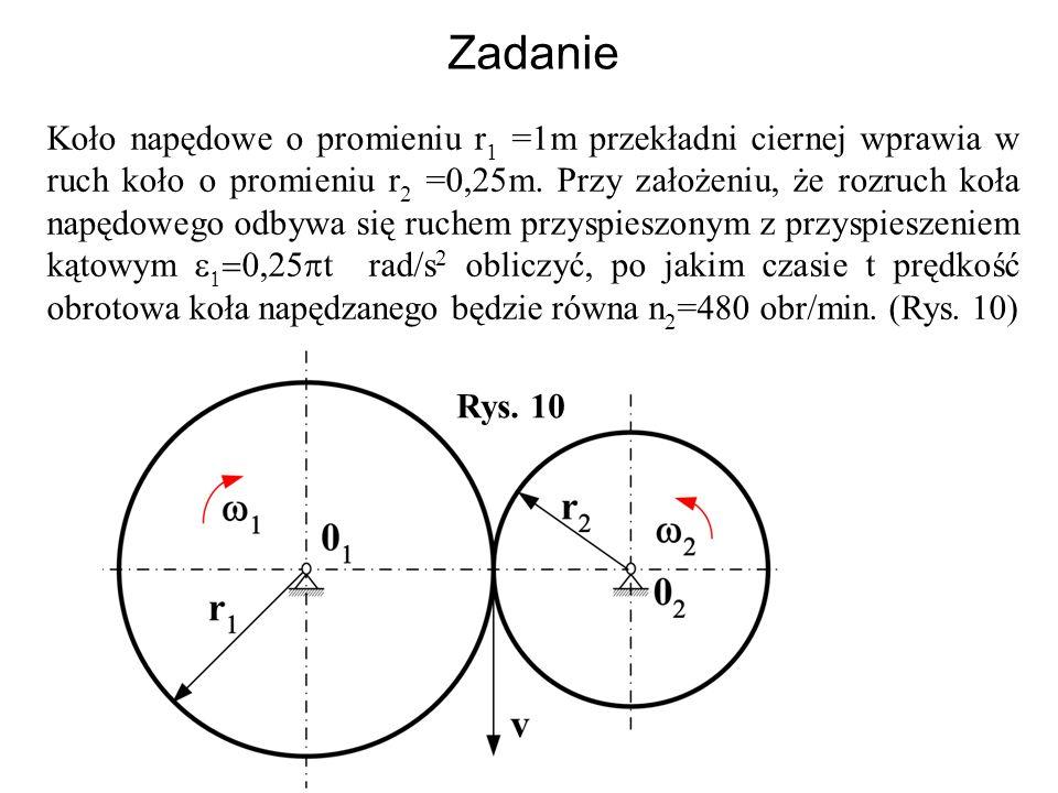 Zadanie Koło napędowe o promieniu r 1 =1m przekładni ciernej wprawia w ruch koło o promieniu r 2 =0,25m. Przy założeniu, że rozruch koła napędowego od