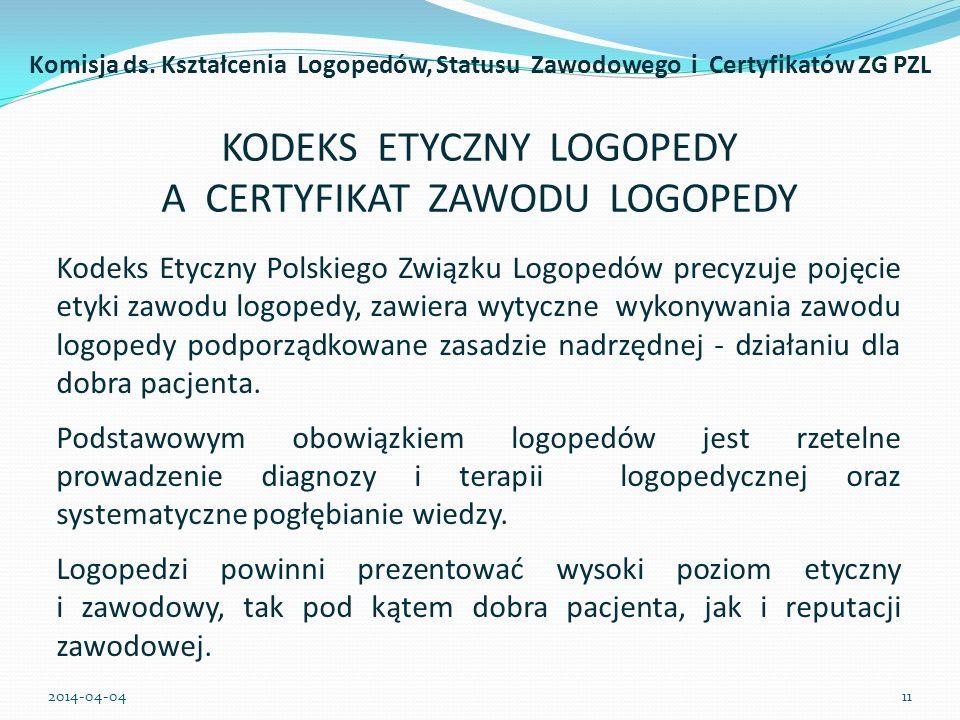 KODEKS ETYCZNY LOGOPEDY A CERTYFIKAT ZAWODU LOGOPEDY Kodeks Etyczny Polskiego Związku Logopedów precyzuje pojęcie etyki zawodu logopedy, zawiera wytyc