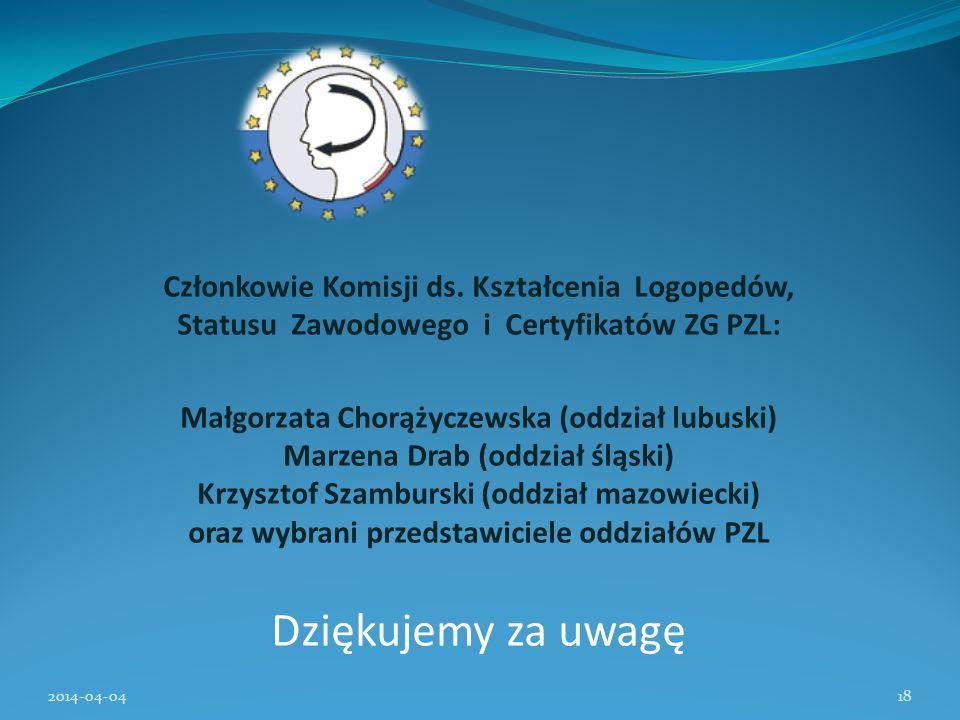 Członkowie Komisji ds. Kształcenia Logopedów, Statusu Zawodowego i Certyfikatów ZG PZL: Małgorzata Chorążyczewska (oddział lubuski) Marzena Drab (oddz