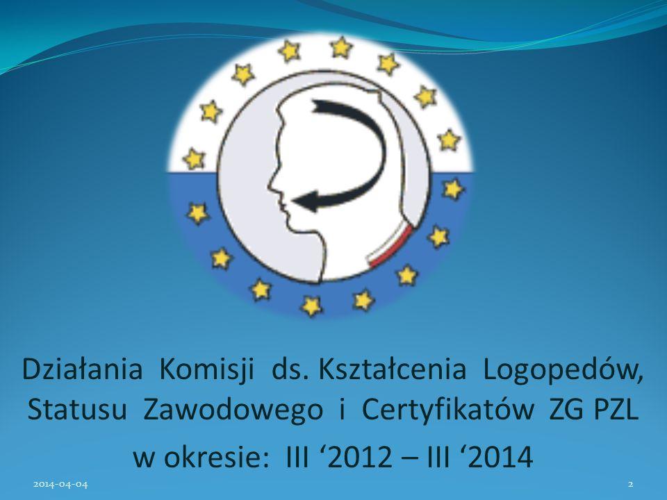 Działania Komisji ds. Kształcenia Logopedów, Statusu Zawodowego i Certyfikatów ZG PZL w okresie: III 2012 – III 2014 2014-04-042