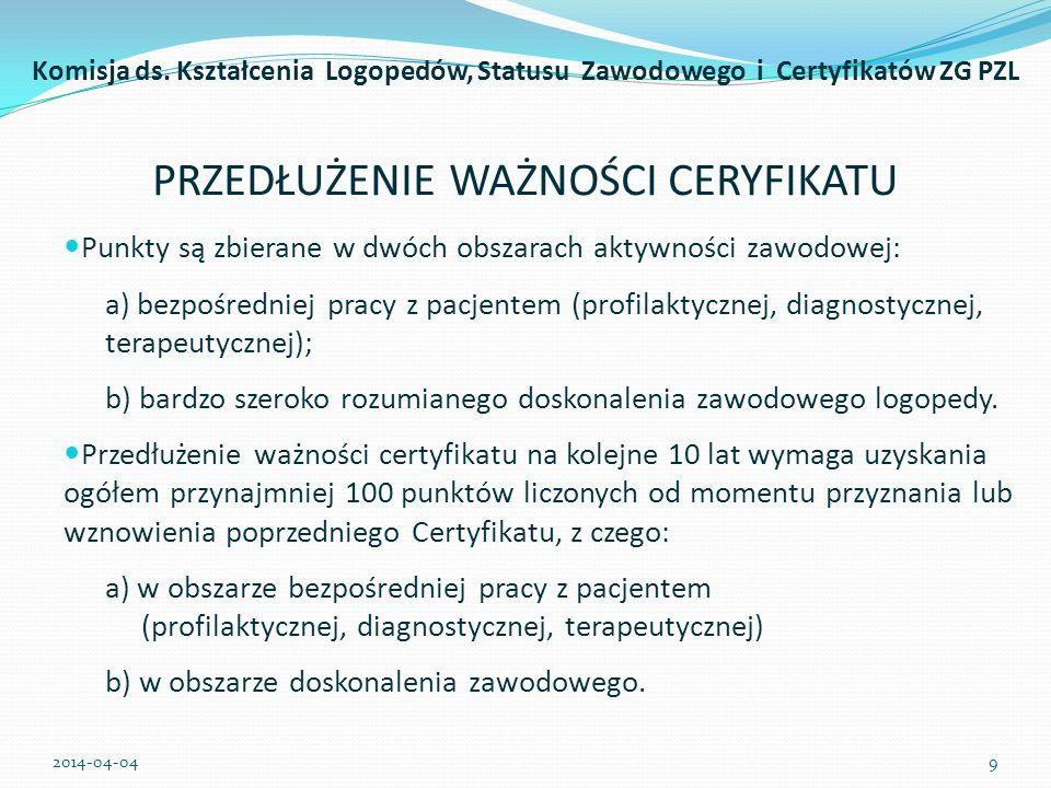 PRZEDŁUŻENIE WAŻNOŚCI CERYFIKATU Logopeda posiadający Certyfikat Zawodowy PZL akceptuje fakt umieszczenia swojego nazwiska w wykazie osób certyfikowanych na stronie internetowej PZL.