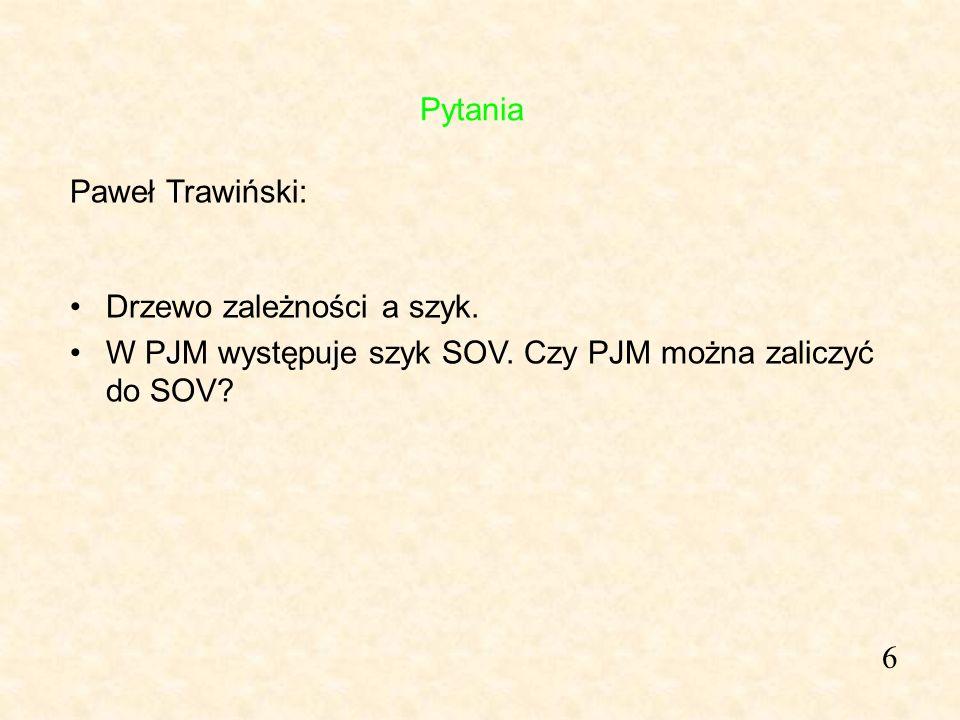 6 Paweł Trawiński: Drzewo zależności a szyk. W PJM występuje szyk SOV. Czy PJM można zaliczyć do SOV? Pytania