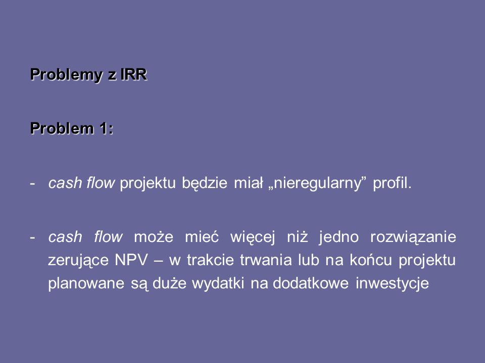 Problemy z IRR Problem 1: -cash flow projektu będzie miał nieregularny profil. -cash flow może mieć więcej niż jedno rozwiązanie zerujące NPV – w trak