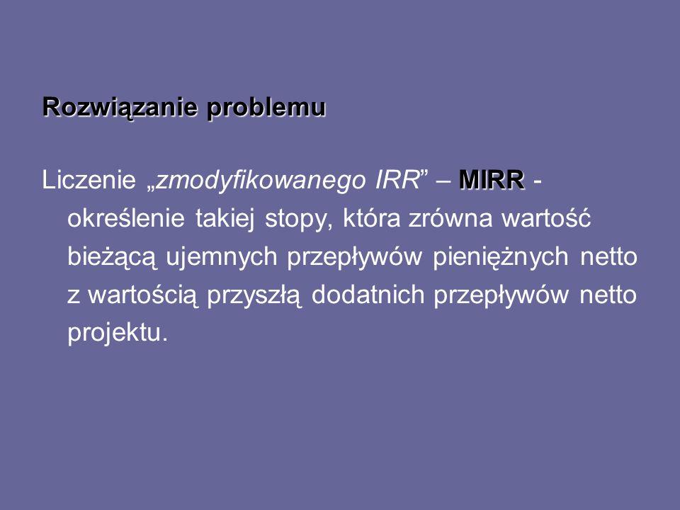 Rozwiązanie problemu MIRR Liczenie zmodyfikowanego IRR – MIRR - określenie takiej stopy, która zrówna wartość bieżącą ujemnych przepływów pieniężnych