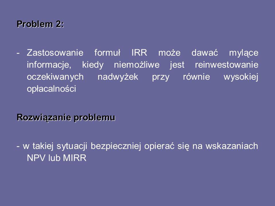 Problem 2: -Zastosowanie formuł IRR może dawać mylące informacje, kiedy niemożliwe jest reinwestowanie oczekiwanych nadwyżek przy równie wysokiej opła