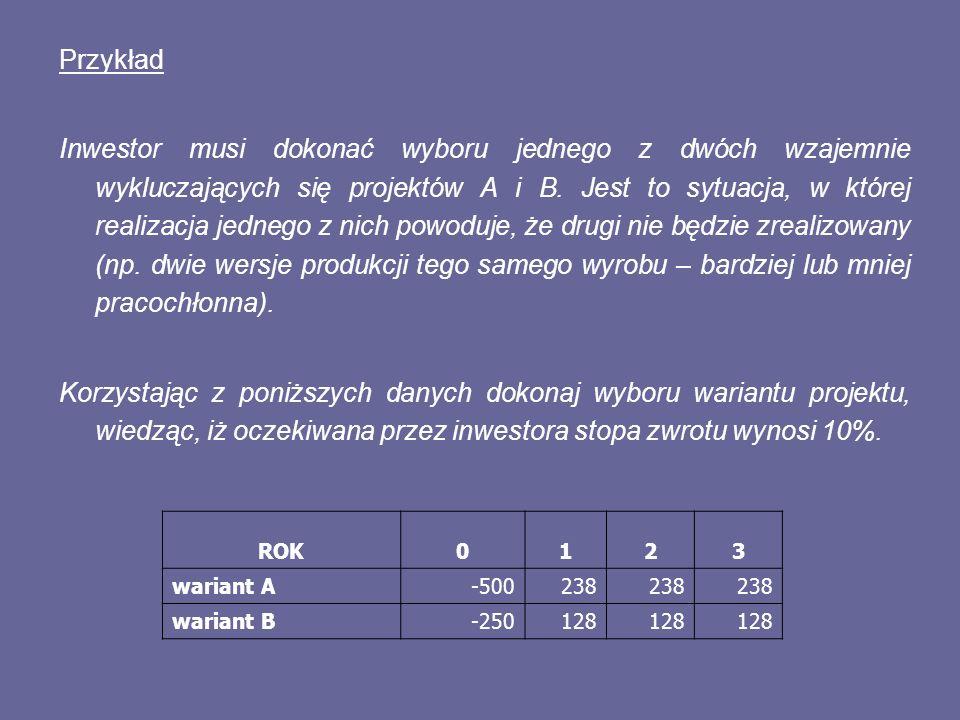 Przykład Ustal zdyskontowany okres zwrotu inwestycji, której przepływy prezentuje poniższa tabela.