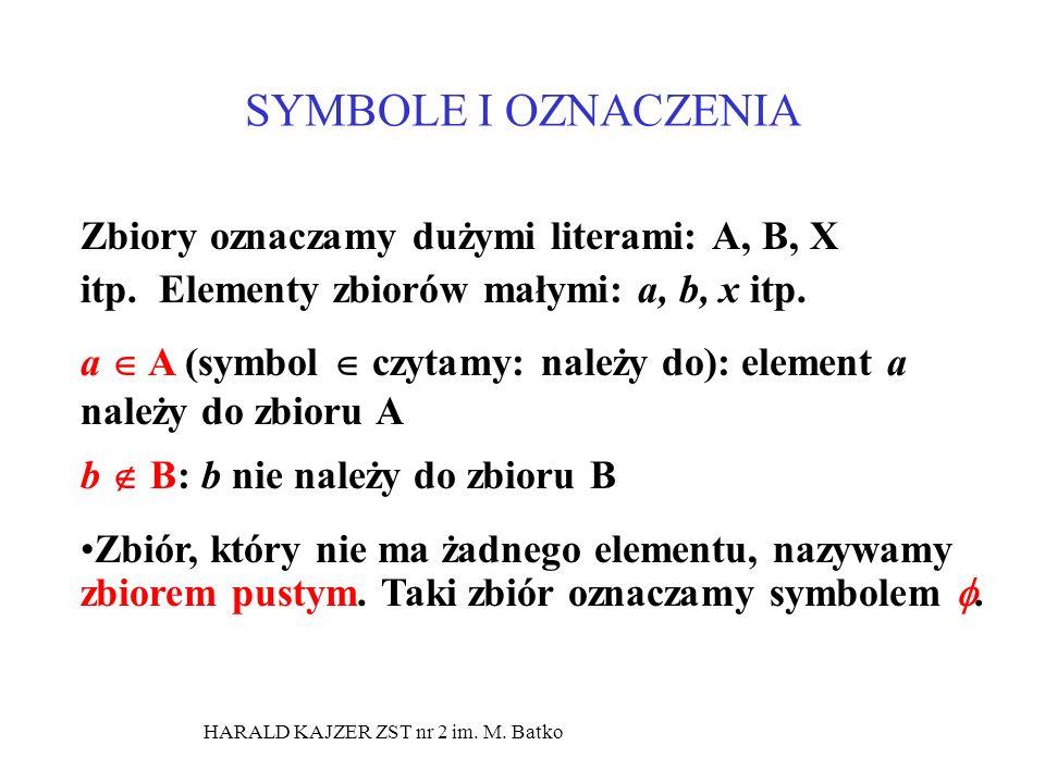 SYMBOLE I OZNACZENIA Zbiory oznaczamy dużymi literami: A, B, X itp. Elementy zbiorów małymi: a, b, x itp. a A (symbol czytamy: należy do): element a n
