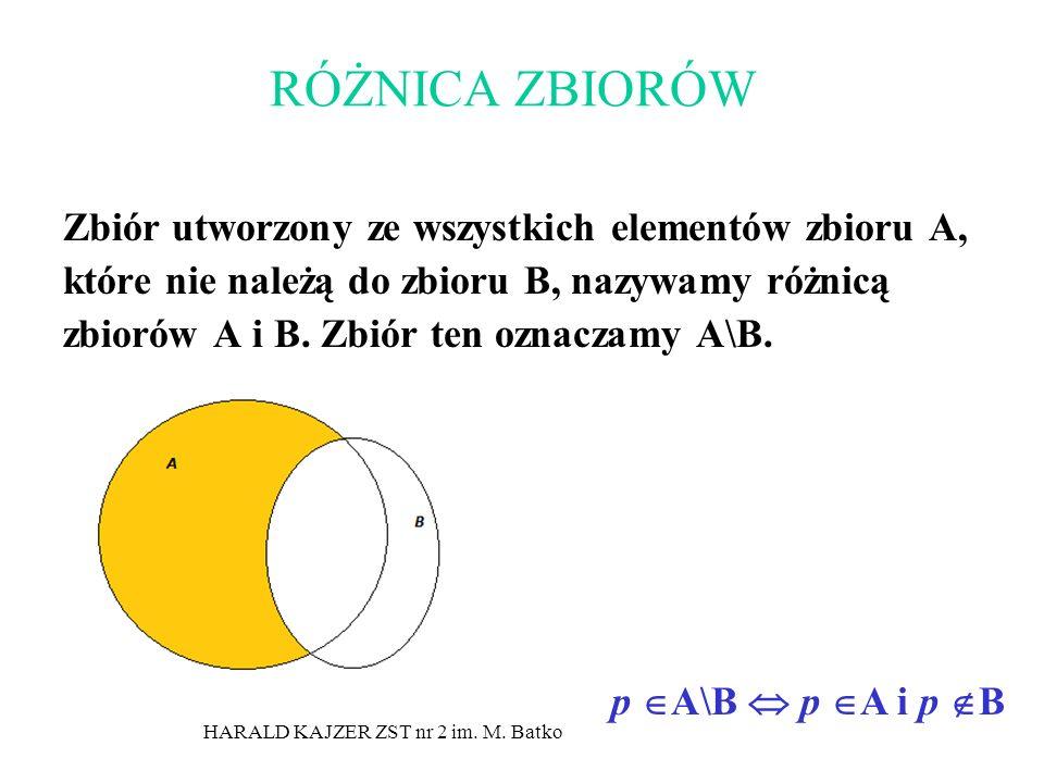 HARALD KAJZER ZST nr 2 im. M. Batko RÓŻNICA ZBIORÓW Zbiór utworzony ze wszystkich elementów zbioru A, które nie należą do zbioru B, nazywamy różnicą z