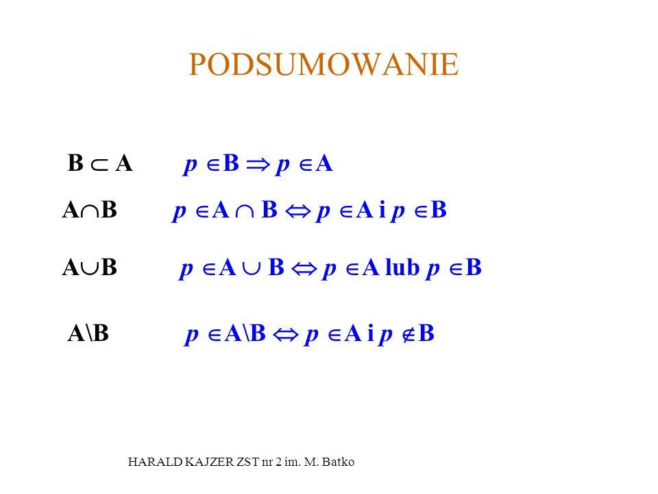 HARALD KAJZER ZST nr 2 im.M. Batko PRZYKŁAD DANE SĄ ZBIORY A={1,2,4,5,7,8}, B={2,3,4,6,7,9}.