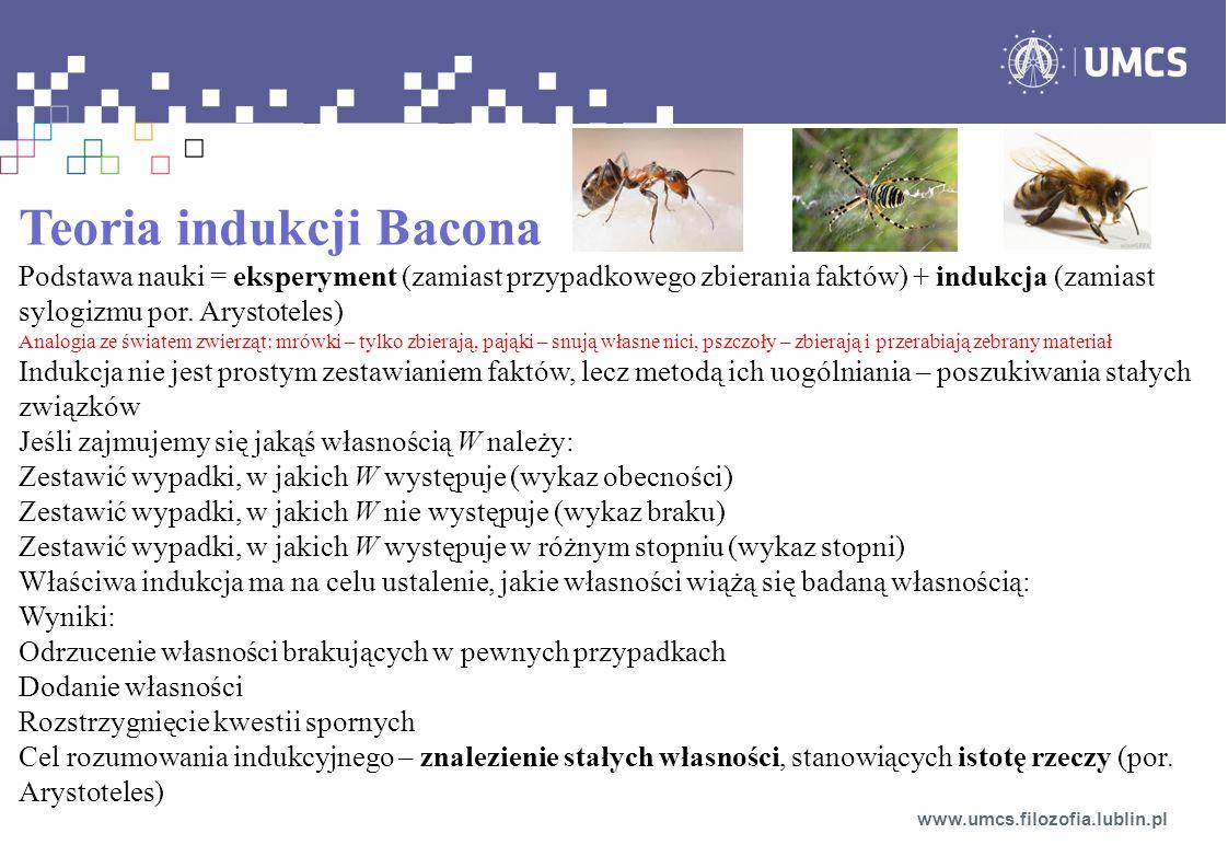 Teoria indukcji Bacona Podstawa nauki = eksperyment (zamiast przypadkowego zbierania faktów) + indukcja (zamiast sylogizmu por.