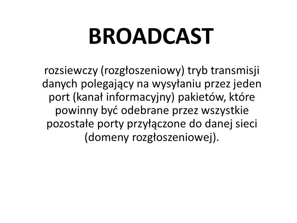 BROADCAST rozsiewczy (rozgłoszeniowy) tryb transmisji danych polegający na wysyłaniu przez jeden port (kanał informacyjny) pakietów, które powinny być