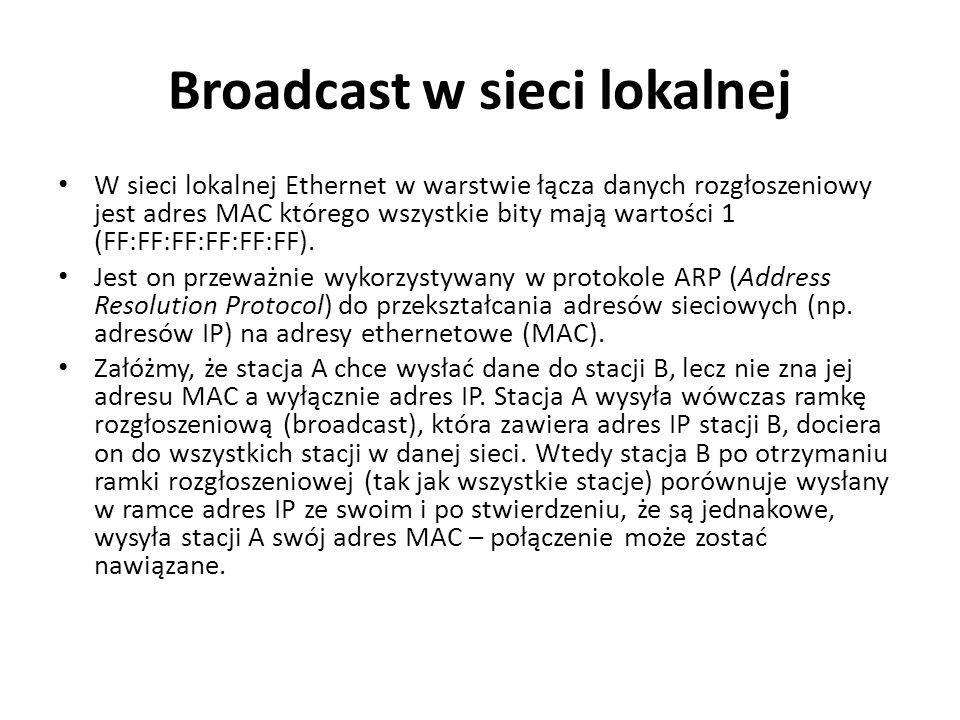 Broadcast w sieci lokalnej W sieci lokalnej Ethernet w warstwie łącza danych rozgłoszeniowy jest adres MAC którego wszystkie bity mają wartości 1 (FF:FF:FF:FF:FF:FF).