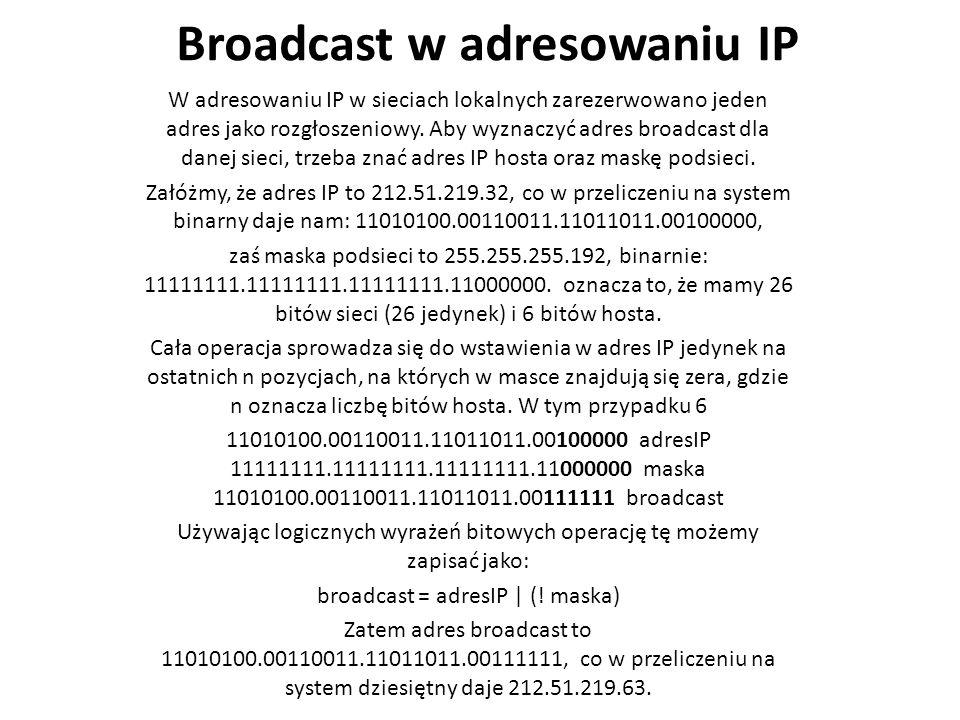 Broadcast w adresowaniu IP W adresowaniu IP w sieciach lokalnych zarezerwowano jeden adres jako rozgłoszeniowy.