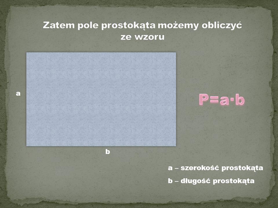 a – szerokość prostokąta b – długość prostokąta a b