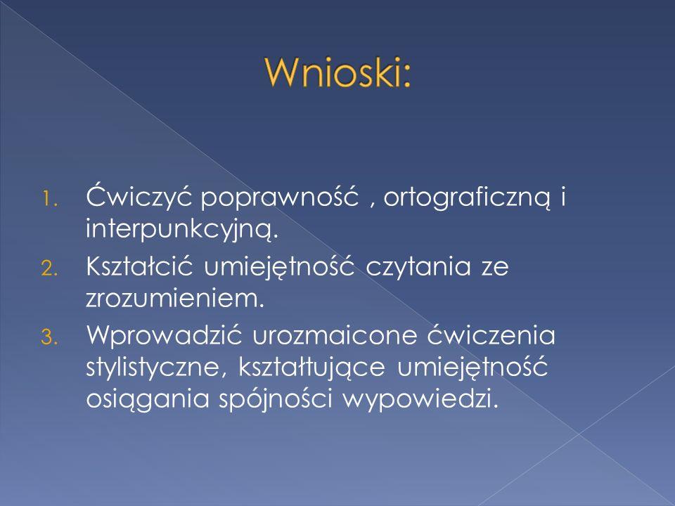 1. Ćwiczyć poprawność, ortograficzną i interpunkcyjną.