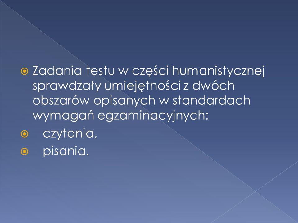 Zadania testu w części humanistycznej sprawdzały umiejętności z dwóch obszarów opisanych w standardach wymagań egzaminacyjnych: czytania, pisania.
