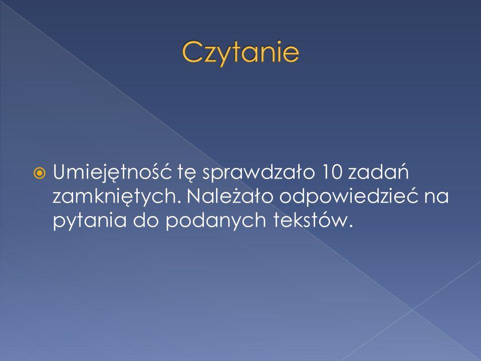 Pierwszy tekst był fragmentem Sztuki dobrego pisania i mówienia Marii Nagajowej, Natomiast drugi to utwór Józefa Ratajczaka Pierwsze wiersze