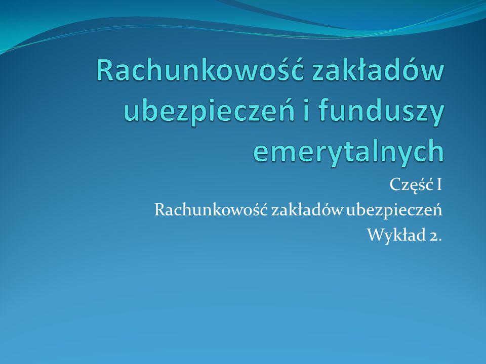 Część I Rachunkowość zakładów ubezpieczeń Wykład 2.