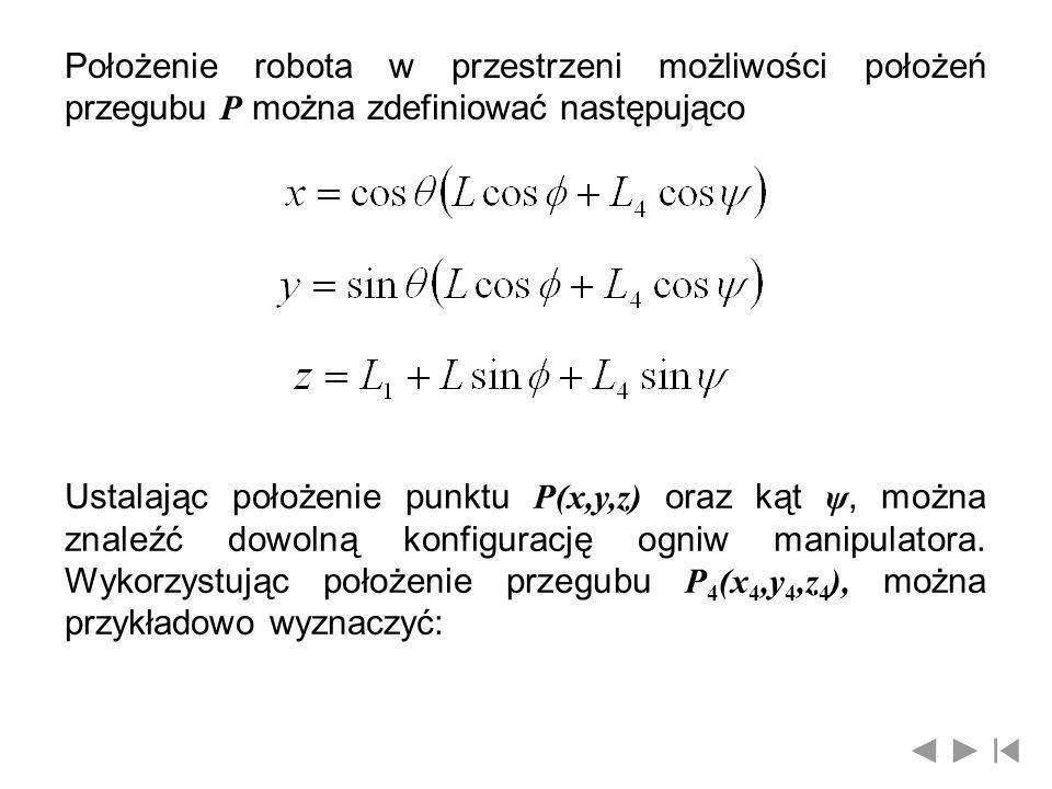 Położenie robota w przestrzeni możliwości położeń przegubu P można zdefiniować następująco Ustalając położenie punktu P(x,y,z) oraz kąt ψ, można znale