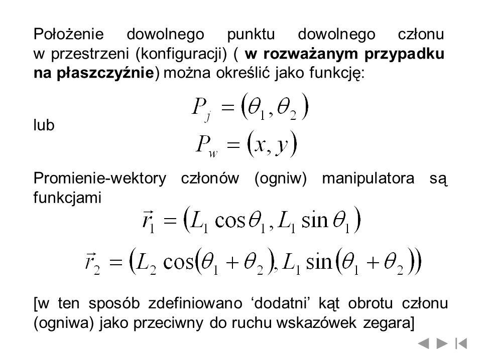 Położenie dowolnego punktu dowolnego członu w przestrzeni (konfiguracji) ( w rozważanym przypadku na płaszczyźnie) można określić jako funkcję: lub Pr