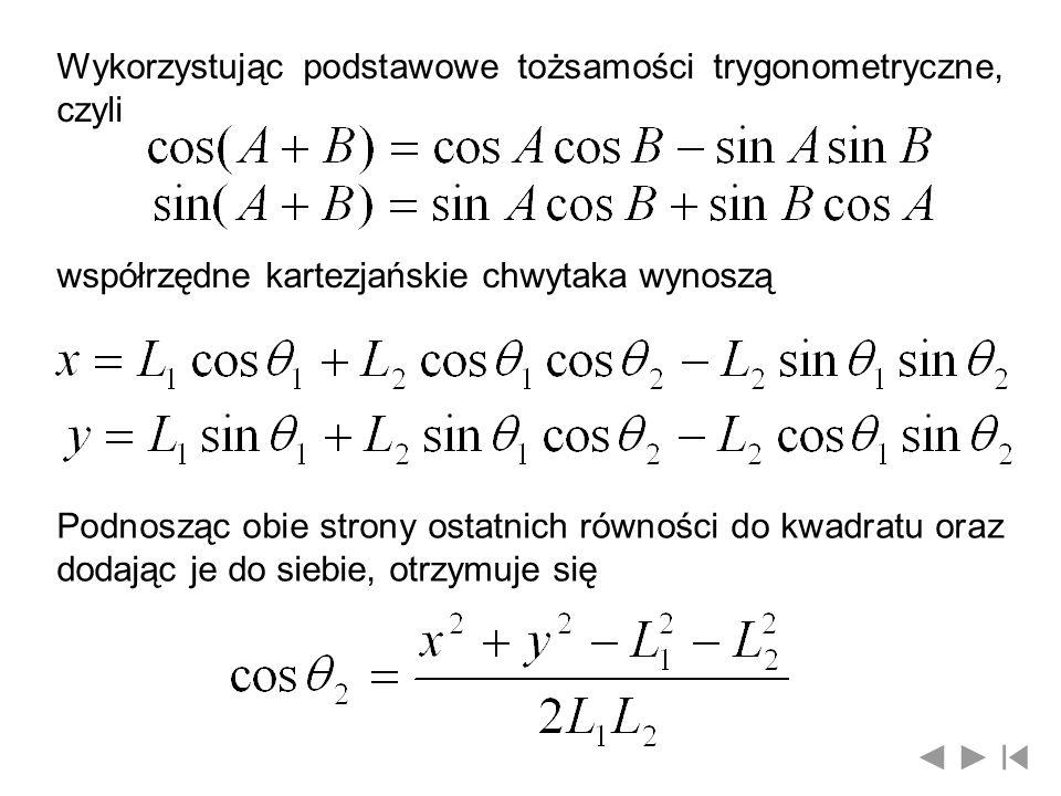 Wykorzystując podstawowe tożsamości trygonometryczne, czyli współrzędne kartezjańskie chwytaka wynoszą Podnosząc obie strony ostatnich równości do kwa