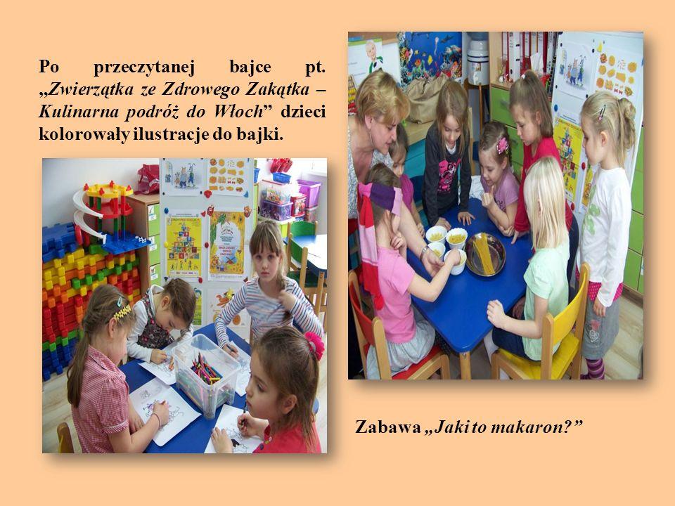 Po przeczytanej bajce pt.Zwierzątka ze Zdrowego Zakątka – Kulinarna podróż do Włoch dzieci kolorowały ilustracje do bajki. Zabawa Jaki to makaron?